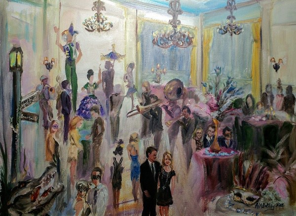 Live Event Painting of 3rd Annual Roswell Mardi Gras Ball